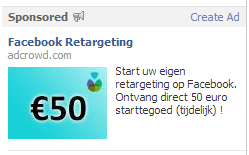 Facebook remarketing advertentie